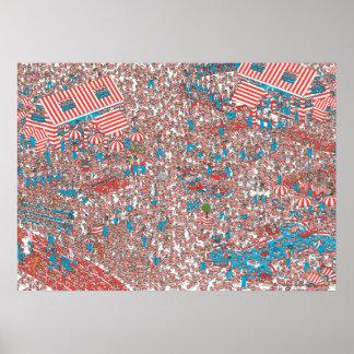 Donde está la tierra de Waldo de tejidos Póster