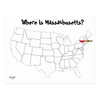 ¿Dónde está Massachusetts? Tarjeta Postal