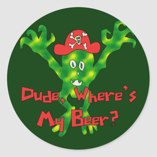 Donde está mi cerveza pegatina redonda
