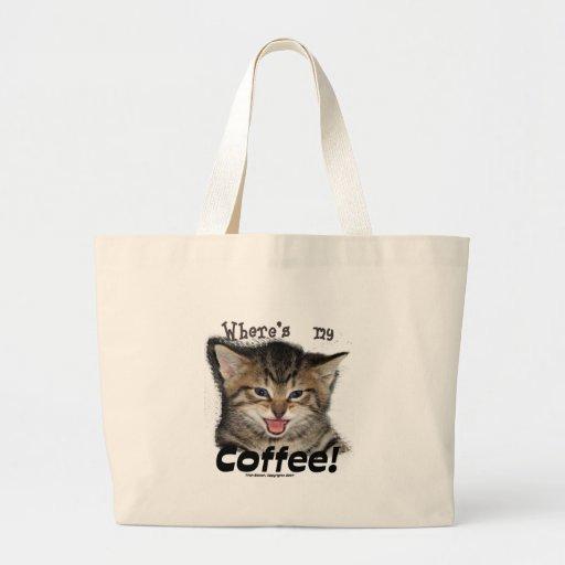 Donde está mi gato del café bolsas de mano