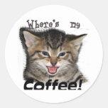 Donde está mi gato del café pegatina redonda
