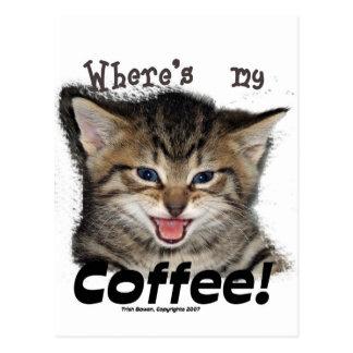 Donde está mi gato del café tarjeta postal