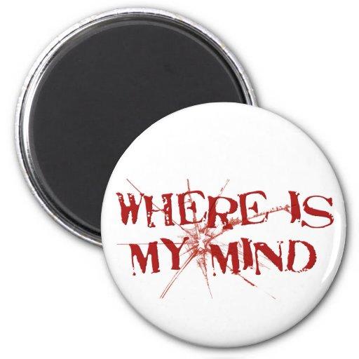 Donde está mi mente - letras sucias rojas de crist imán para frigorifico