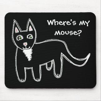 ¿Dónde está mi ratón? Gato negro Tapetes De Ratón