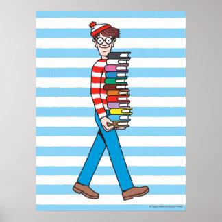 Donde está pila el llevar de Waldo de libros Póster