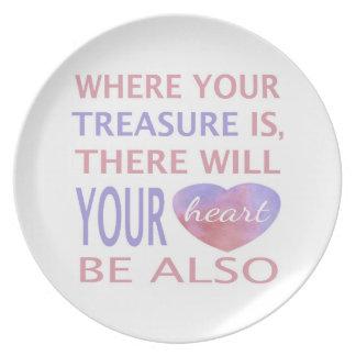 Donde está su tesoro allí su corazón será plato