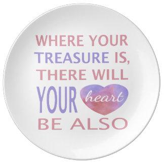 Donde está su tesoro allí su corazón será platos de cerámica