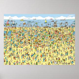 Donde está Waldo en la playa Poster