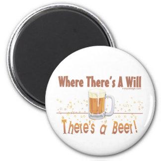 ¡Donde hay A, hay una cerveza! Imán Redondo 5 Cm