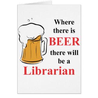 Donde hay cerveza - bibliotecario tarjeta pequeña
