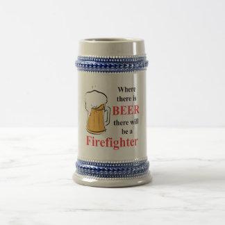 Donde hay cerveza - bombero taza