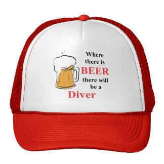 Donde hay cerveza - buceador gorros bordados