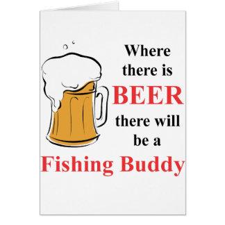 Donde hay cerveza - compinche de la pesca tarjeta pequeña