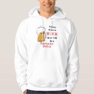 Donde hay cerveza - conductor del Snowplow Jersey Encapuchado