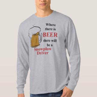 Donde hay cerveza - conductor del Snowplow Playera