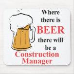 Donde hay cerveza - encargado de la construcción alfombrillas de ratón