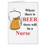 Donde hay cerveza - enfermera felicitación