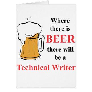 Donde hay cerveza - escritor técnico tarjeta pequeña