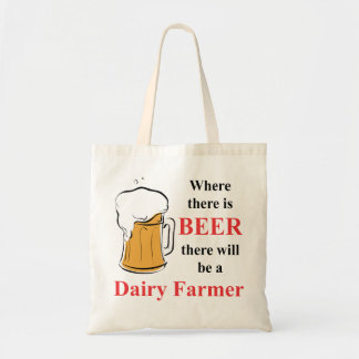 Donde hay cerveza - granjero de lechería bolsa tela barata