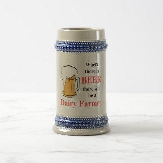 Donde hay cerveza - granjero de lechería jarra de cerveza