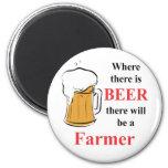 Donde hay cerveza hay granjero imán para frigorifico