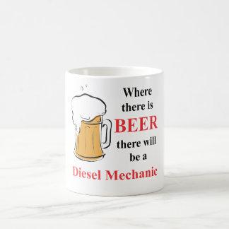 Donde hay cerveza - mecánico diesel taza básica blanca