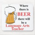 Donde hay cerveza - profesor de artes de lengua alfombrilla de ratones