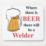 Donde hay cerveza - soldador tapete de raton
