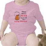 Donde hay cerveza - trabajador de granja traje de bebé