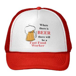 Donde hay cerveza - trabajador de los alimentos de gorras