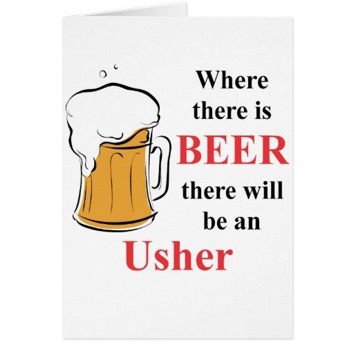 Donde hay cerveza - Usher Tarjeta