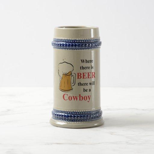 Donde hay cerveza - vaquero jarra de cerveza