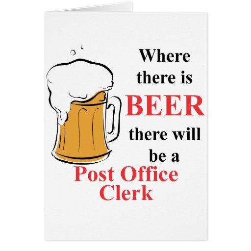 Donde hay cerveza - vendedor de la oficina de corr tarjeta pequeña