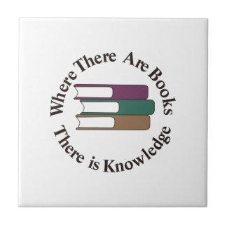 Donde hay libros azulejo cuadrado pequeño