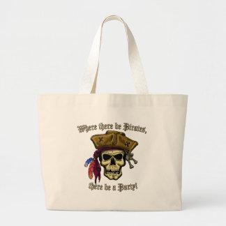 ¡Donde haya piratas, haya un fiesta! Bolsas Lienzo