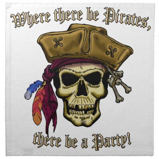 ¡Donde haya piratas, haya un fiesta! Servilletas Imprimidas