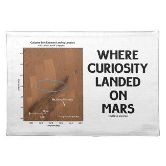 Donde la curiosidad aterrizó en Marte (la Manteles Individuales