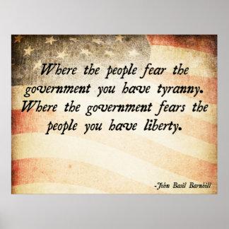 Donde la gente teme al gobierno póster