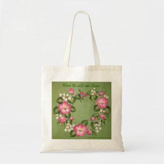 Donde las floraciones color de rosa salvajes…. bolsa de mano