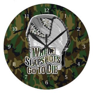 Donde los Slapshots van a morir (el hockey) Reloj Redondo Grande