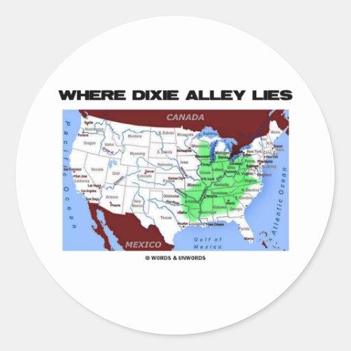 Donde miente el callejón de Dixie (el mapa de Pegatina Redonda