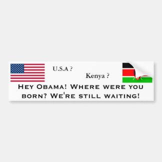 ¿Dónde nació Obama? Pegatina De Parachoque