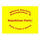 Donde racistas, Homophobes, y odio Tarjeta Postal