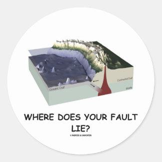 ¿Dónde su falta miente? (Humor de la geología) Pegatina Redonda