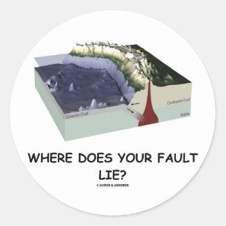¿Dónde su falta miente Humor de la geología Pegatinas Redondas