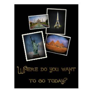 ¿Dónde usted quiere ir? Tarjeta Postal
