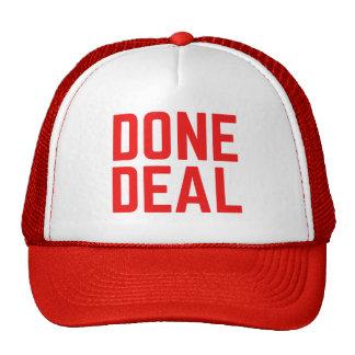 DONE DEAL red bold fun slogan trucker hat