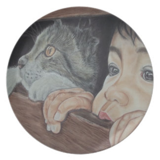 Done drawing by hand with pencil and chalk pastel plate