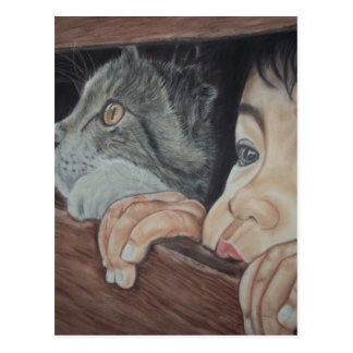 Done drawing by hand with pencil and chalk pastel postcard