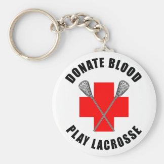 Done el regalo de LaCrosse del juego de la sangre Llavero Redondo Tipo Pin